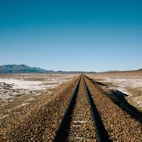 Railroad landscape with horizon and sky