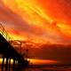 Red Skies over the sea and bridge