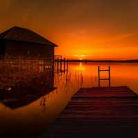 Red Sunset with house and docks