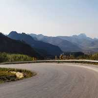 Road Bend landscape with mountains scenic