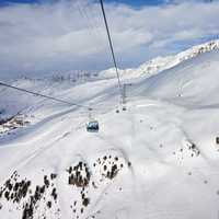 Ski Lifts on the snowy mountain side
