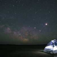 Stars and sky above the tent at night