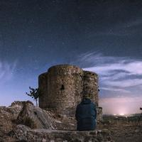 Stars over the old castle structure