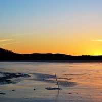 Sunset over the Frozen Lake