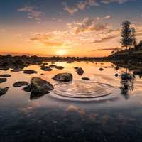 Sunset, water, and ripples landscape