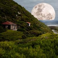 Super Moonrise over the hill