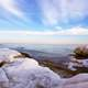 Winter and Icy Beach landscape with sky
