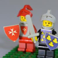 Blue and red knight lego toys
