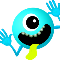 Blue Monster Smiley Face