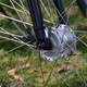 Closeup of spokes and the bike wheel