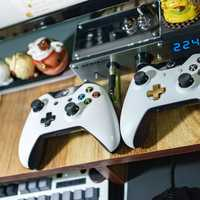 Console game controllers on the table