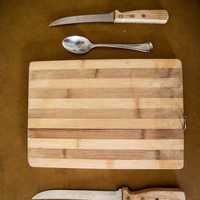 Cutting Board and Knives Setup