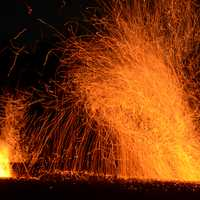 Fire Sparks from a volcano