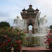 Fountains with roses and temple