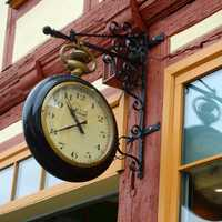Hanging clock on building