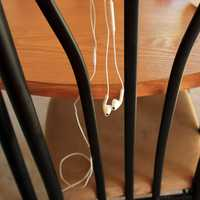 Headphones hanging on a chair
