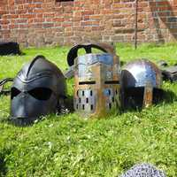 Knight Helmets on the grass