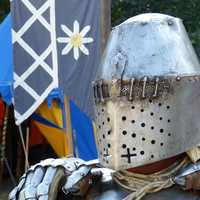 Knight wearing heavy helmet and armor