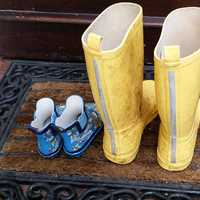 Large Yellow Boots and small blue boots
