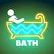 Lighted Bath sign with neon