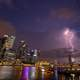 Lightning Strike over the skyscrapers and cityscape