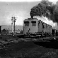 Locomotive train with smoke