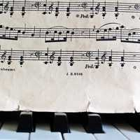 Music Notes and sheet music on a piano