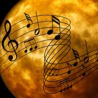 Music Notes over the moon