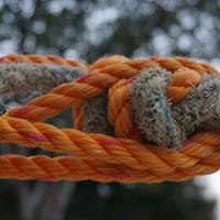 Orange and Brown Rope Knot