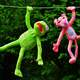 Plush toys of Kermit and Pink Panther