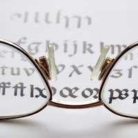 Reading Glasses looking at words