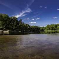 River Bend Landscape in Harstad County Park under blue skies