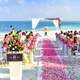 Seaside Wedding with rose walkway