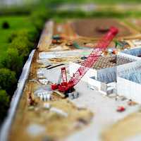 Small Model building and crane
