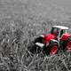 Small Red Toy Tractor in grass