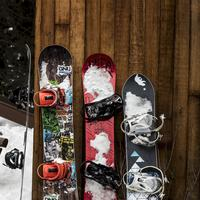 Snowboards standing on the wall