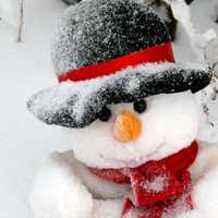 Snowman with face and hat