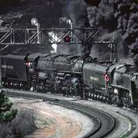 Steam Locomotive train with black smoke coming out