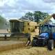 Tractors working in the grain field
