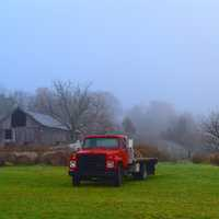 Truck with Silo and Fog and Farm