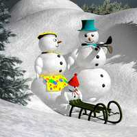 Two snowmen sledding