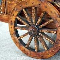 Wooden Wheel on Cart