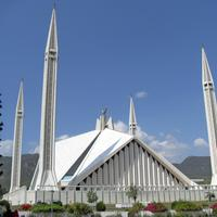 Elevation view of the Shah Faisal Masjid in Islamabad, Pakistan