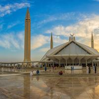 Shah Faisal Masjid in Islamabad, Pakistan under the sky