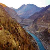 Mountain and valley landscape with river in Pakistan