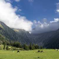 Upperdir landscape with mountains and clouds in Pakistan