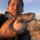 Asian man holding fat Channel Catfish