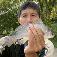Asian Man Holding Freshwater Drum Catch