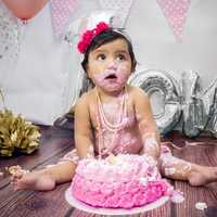 Baby destroying Pink Cake