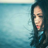 Beautiful Asian Women with windswept Hair